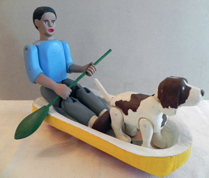 "Dwight King, ""Boy and Dog in Boat"""